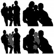 Stock Vector: Family Silhouettes