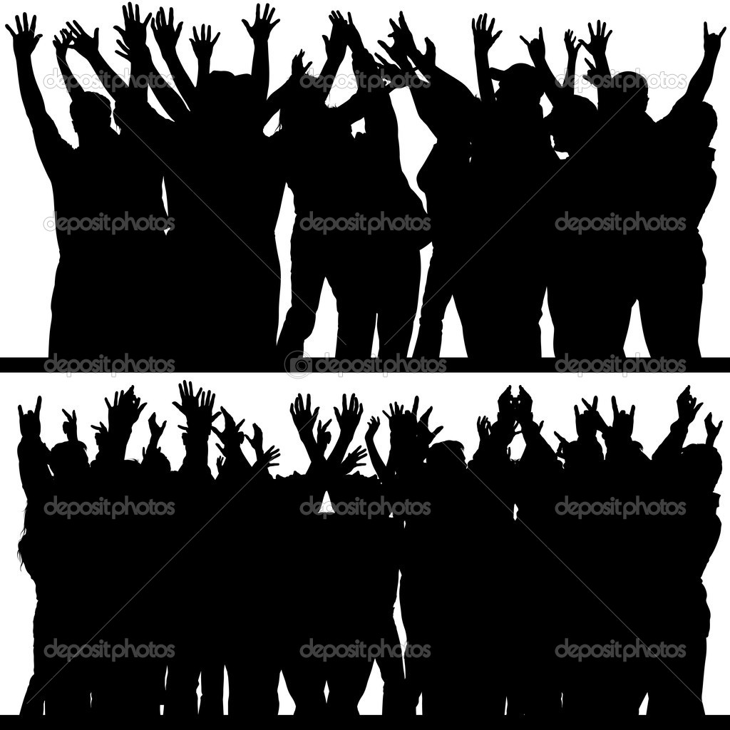 Hands Up - Crowd - black silhouettes, vector — ベクター素材ストック #3180294