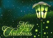 Green Christmas Streetlight — Stock Vector