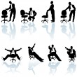 Office Man and Rolling Chair - Stock Vector
