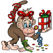 Stock Vector: Monkey and Gift