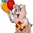 Vector de stock : Pig with Gift