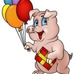 Schwein mit Geschenk — Stockvektor