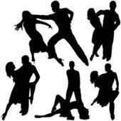 Latino Dance Silhouettes — Stock Vector
