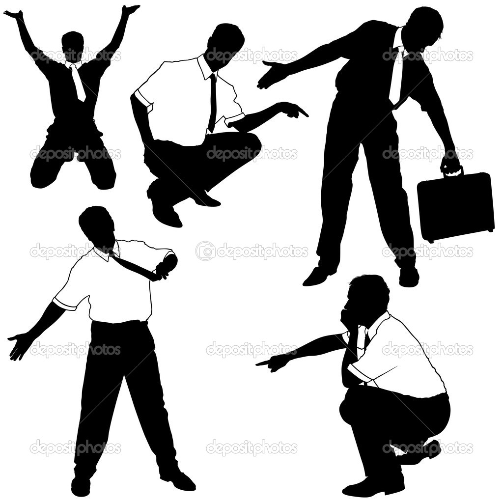 Businessman Pointing - black business silhouettes, vector — Stock Vector #3270243