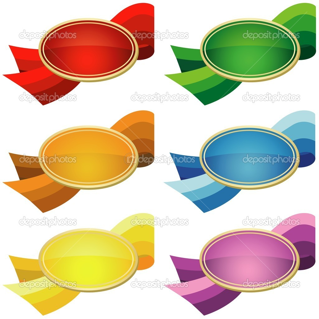 Pricetags - Oval Shape and Ribbon, colored illustration, vector — Stock Vector #3279912