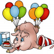 Vetorial Stock : Pig with Balloons