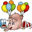 Stock Vector: Pig with Balloons