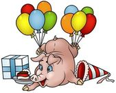 Pig with Balloons — Stock Vector