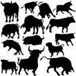 Stock Vector: Bull Silhouette Collection