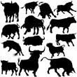 Bull Silhouette Collection - Stock Vector