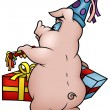 Stock Vector: Pig with Gifts