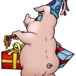 Schwein mit Geschenke — Stockvektor