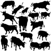 Bull Silhouette Collection — Stock Vector