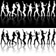 Dancing Girls Silhouettes — Stock Vector