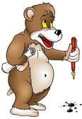 Bear with Pen — Stock Vector