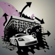 Abstract building design with car — Vektorgrafik