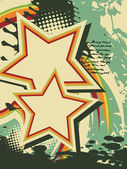 Grunge star vector retro art — Stock Vector