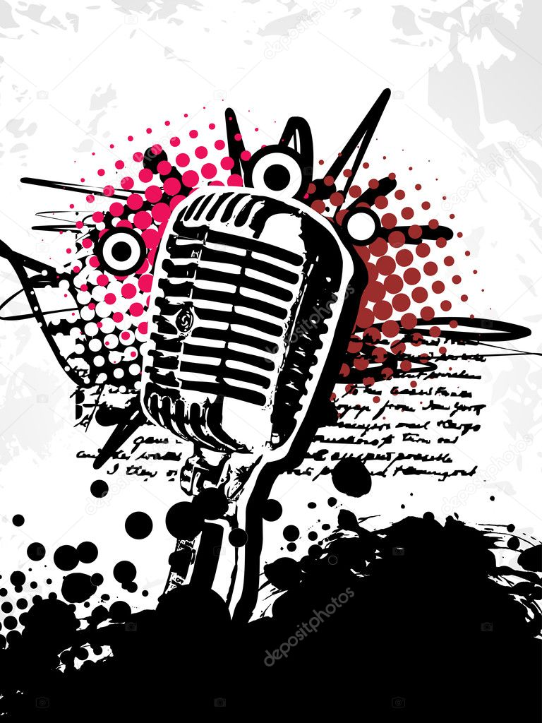 Abstract grungy vector mic | Stock Vector © pinnacleanimate #3797739