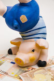 Happy pig on white — Stock Photo