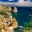 Algarve rock - coast in Portugal - Stock Photo