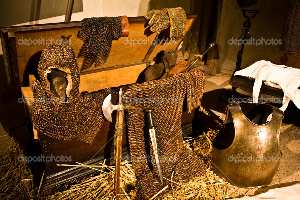 Medieval weapons in Italian castle, close to Turin, north Italy — Stock Photo #2878484