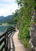 Path between lake and rock — Stock Photo