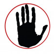 Black hand on red circle - Stock Photo