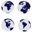 Stock Photo: Earth globes with 4 continents