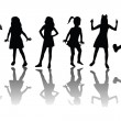 Group of happy children silhouettes — Stock Photo