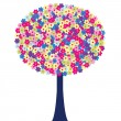Happy tree with colored flowers — Stock Photo