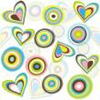 Retro background with circles and hearts - Stock Photo