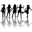 Silhouettes of children — Stock Photo