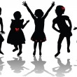 Silhouettes of cute girls — Stock Photo