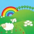Summer landscape with sheeps and rainbow — Stock Photo #2838676