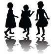 Three girls silhouettes — Stock Photo