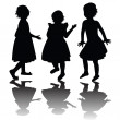 Stock Photo: Three girls silhouettes