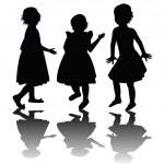 Three girls silhouettes — Stock Photo #2838740