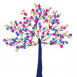 Tree with colored flowers — Stock Photo