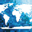 White worldmap on blue mosaic — Stock Photo