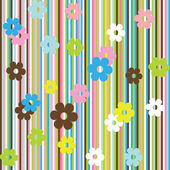 Background with stripes and flowers — Stock Photo