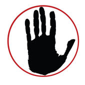 Black hand on red circle — Stock Photo