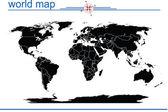 Black world map — Stock Photo