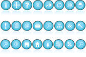 Blue round buttons with icons for pc — Stock Photo