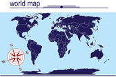 Blue world map on blue background — Stock Photo