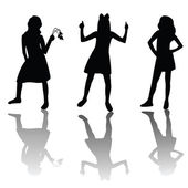 Cute girls silhouettes — Stock Photo