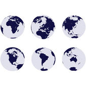 Earth globes with 6 continents — Stock Photo