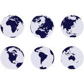 Erde globen mit 6 kontinenten — Stockfoto