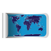 Fresh label stick with blue world map — Stock Photo