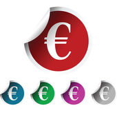 Fresh labels with euror symbol, colored — Stockfoto